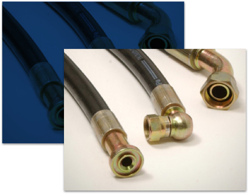 A custom hose made at the on-site fabrication shop at mid-state aerospace