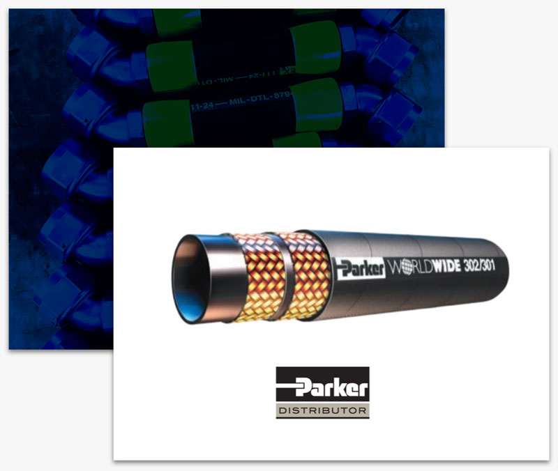 A Parker Stratoflex hose distributed by mid-state aerospace